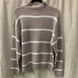 Nira Mock Neck Striped Sweater Lavender/White